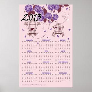 Las flores y los Birdcages 2013 hacen calendarios Impresiones