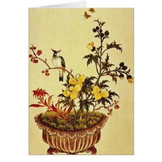 Las flores y los pájaros rojos, artista tarjeta de felicitación