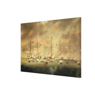 Las flotas británicas y americanas dedicadas en el lienzo envuelto para galerías