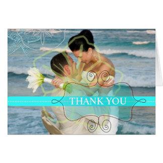 Las fotos de las estrellas de mar/le agradecen las tarjeta pequeña