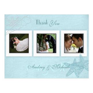 Las fotos del boda de playa le agradecen las tarjetas postales