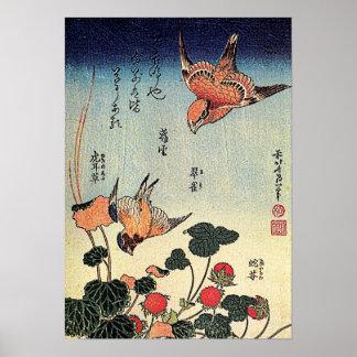 Las fresas salvajes y los pájaros de Hokusai ' Póster