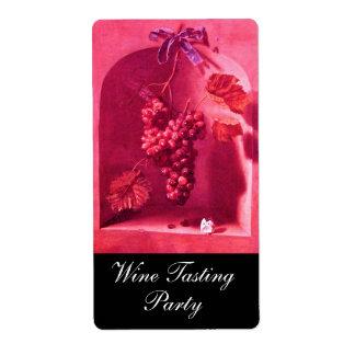Las FRUTAS de la ESTACIÓN - fucsia rosado rojo de Etiqueta De Envío