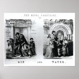 Las fuentes o la ginebra y el agua rivales póster