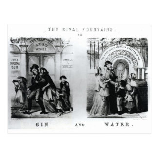Las fuentes o la ginebra y el agua rivales tarjeta postal