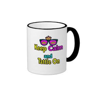 Las gafas de sol de la corona guardan calma y Tatt Tazas De Café