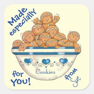 Las galletas de usted modificaron etiquetas para pegatinas cuadradas