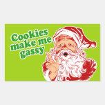 Las galletas me hacen gaseoso rectangular pegatinas