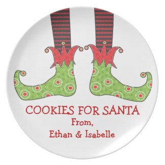 Las galletas para Santa personalizan la feliz plac Plato De Cena