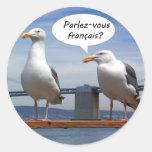 Las gaviotas hablan francés etiqueta redonda