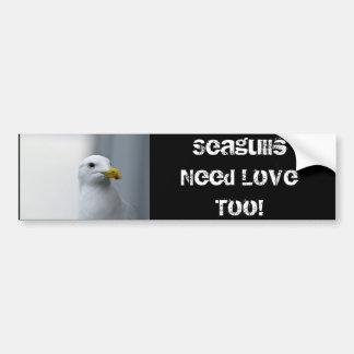 Las gaviotas necesitan amor también pegatina para auto