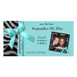 Las gemas de la cebra del trullo y de la plata aho tarjeta con foto personalizada