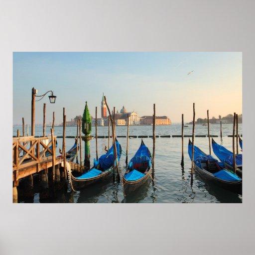 Las góndolas en Venecia imprimieron en lona Posters