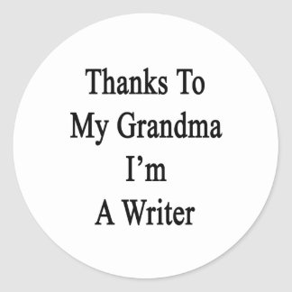 Las gracias a mi abuela soy escritor pegatina redonda