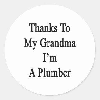 Las gracias a mi abuela soy fontanero etiquetas redondas