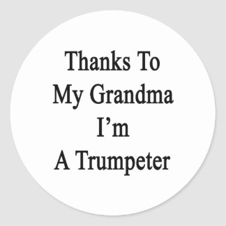 Las gracias a mi abuela soy un Trumpeter. Etiquetas Redondas
