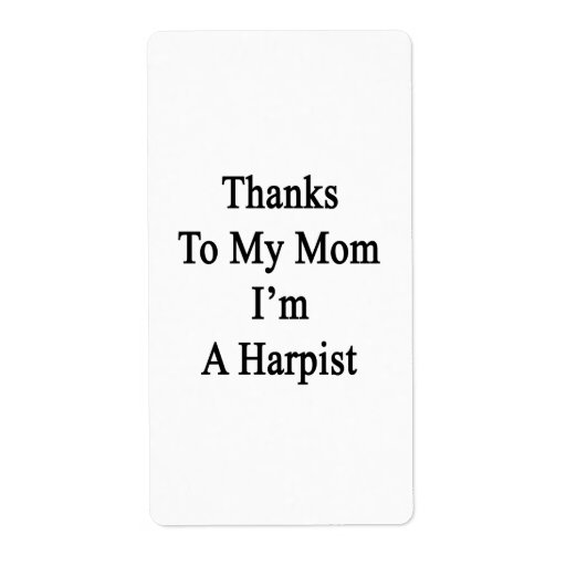 Las gracias a mi mamá soy arpista etiqueta de envío
