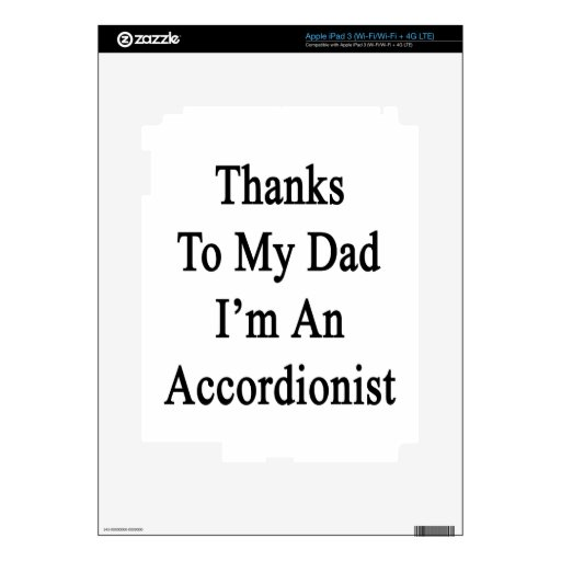 Las gracias a mi papá soy acordeonista iPad 3 pegatina skin