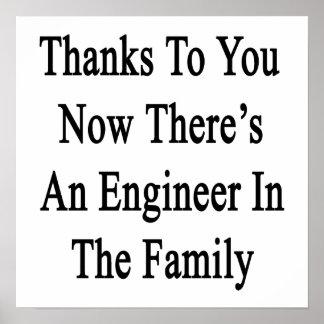 Las gracias a usted ahora allí son ingeniero en el póster