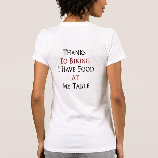 Las gracias Biking a mí tengo comida en mi tabla Camiseta