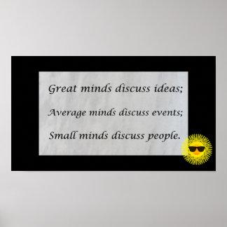 Las grandes mentes discuten ideas; póster