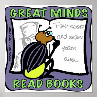 Las grandes mentes leyeron los libros póster