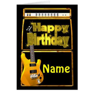 Las guitarras del feliz cumpleaños con añaden nomb tarjeta de felicitación