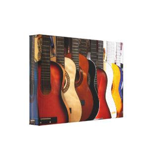 Las guitarras envolvieron la lona impresión en lienzo estirada