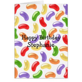 Las habas de jalea apenas añaden el cumpleaños con tarjetón