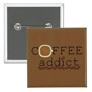 Las habas del adicto al café - cambie el color pin cuadrado