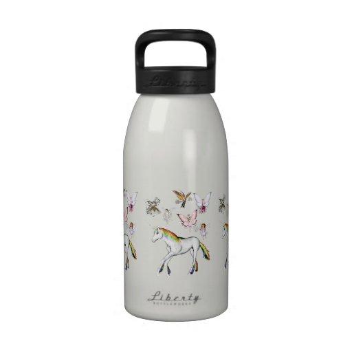 Las hadas colorean el unicornio botella de agua reutilizable