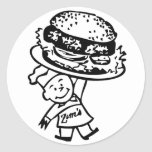 Las hamburguesas del vintage de Zim retro del Pegatina Redonda