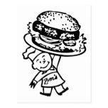 Las hamburguesas del vintage de Zim retro del Postal
