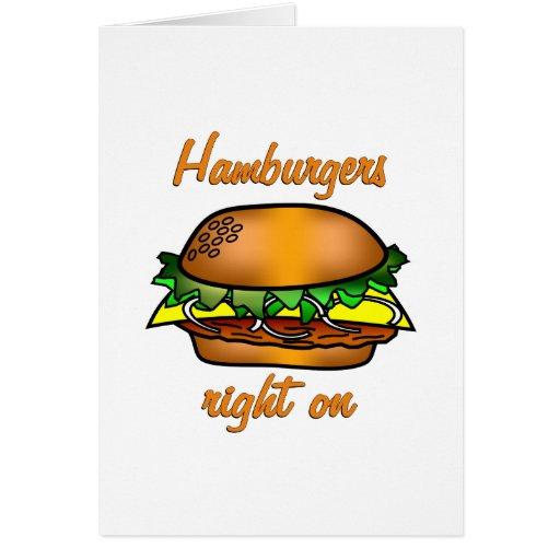 Las hamburguesas enderezan encendido tarjeton