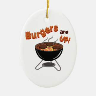 Las hamburguesas están para arriba adorno ovalado de cerámica