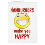 Las hamburguesas le hacen feliz felicitación