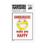 Las hamburguesas le hacen feliz franqueo