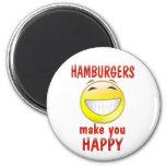 Las hamburguesas le hacen feliz imán para frigorífico