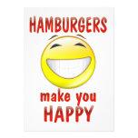 Las hamburguesas le hacen feliz anuncio personalizado