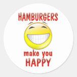 Las hamburguesas le hacen feliz pegatina redonda