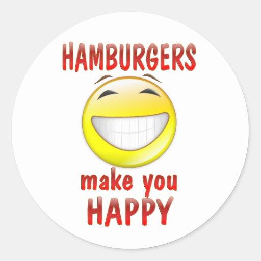 Las hamburguesas le hacen feliz pegatinas