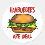 Las hamburguesas son ideales etiqueta redonda