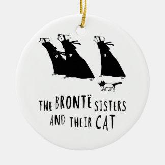 Las hermanas de Bronte y su gato Adorno Navideño Redondo De Cerámica