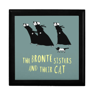 Las hermanas de Bronte y su gato Joyero Cuadrado Grande