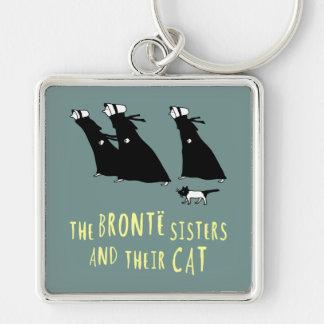Las hermanas de Bronte y su gato Llavero Cuadrado Plateado