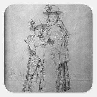 Las hermanas de Montagu en Roma, 1815 Pegatina Cuadrada