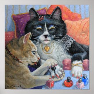 Las hermanas del gatito de la materia de la herma impresiones
