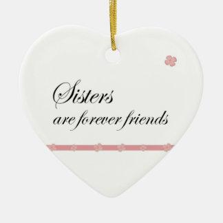 Las hermanas del navidad son para siempre amigos adorno navideño de cerámica en forma de corazón