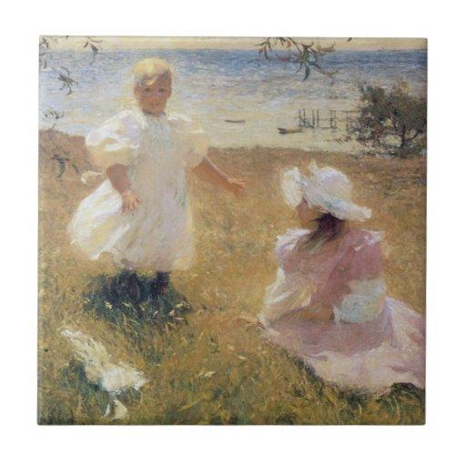 Las hermanas, por Frank W. Benson Azulejo Cuadrado Pequeño