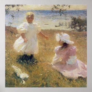 Las hermanas, por Frank Weston Benson Póster
